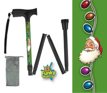 Load image into Gallery viewer, Folding Walking Cane Holiday Design Christmas Santa Claus Collapsible Travel BFunkymobility