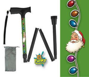 Folding Walking Cane Holiday Design Christmas Santa Claus Collapsible Travel BFunkymobility