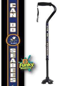 Military Walking Cane US Navy Sea Bees Offset footed quad Adjustable Men or Women Veteran BFunkyMobility