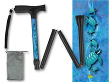 Load image into Gallery viewer, Fashionable folding collapsible sea turtles travel walking canes with pretty patterns cool fun made in USA by BFunkyMobility