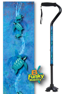 Walking Cane Gel Grip Offset Footed Quad sea turtles Walking Cane BFunkyMobility