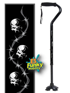 Walking Cane Gel Grip Offset Footed Quad skulls with barbed wire  Walking Cane BFunkyMobility