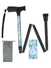 Load image into Gallery viewer, Folding walking cane fun cool travel men or women compact lightweight quality fashionable made in usa colorful snowflakes pattern holiday bfunkymobility