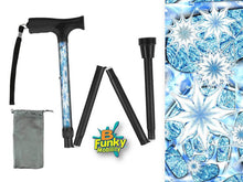 Load image into Gallery viewer, Folding Walking Cane Holiday Design Snowflakes Christmas Collapsible Travel BFunkymobility
