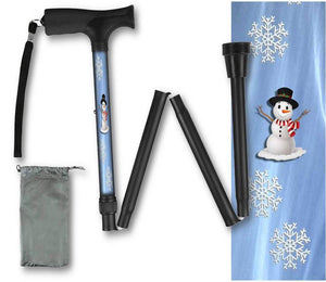 Folding Walking Cane Holiday Design Snowman Christmas Collapsible Travel BFunkymobility