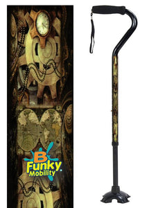 Walking Cane Gel Grip Offset Footed Quad steampunk Walking Cane BFunkyMobility