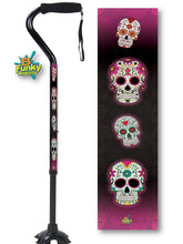 Load image into Gallery viewer, Walking Cane Gel Grip Offset Footed Quad sugar skulls day of the dead Walking Cane BFunkyMobility
