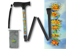 Load image into Gallery viewer, Fashionable folding collapsible sunflowers travel walking canes with pretty patterns cool fun made in USA by BFunkyMobility