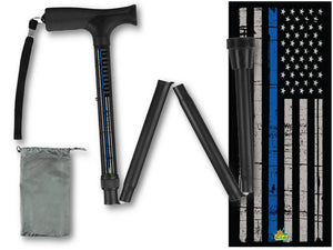 Folding Walking Cane Thin Blue Line Policeman Collapsible Travel Military Men or Women Fashionable BFunkyMobility