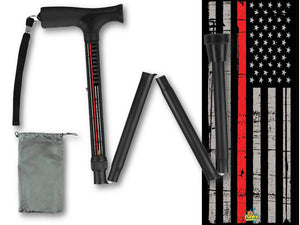 Folding Walking Cane Thin Red Line Fireman Collapsible Travel Military Men or Women Fashionable BFunkyMobility