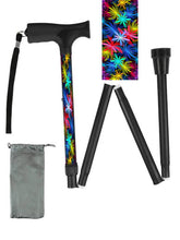 Load image into Gallery viewer, Folding walking cane fun cool travel men or women compact lightweight quality fashionable made in usa colorful bright Floral Passion bfunkymobility