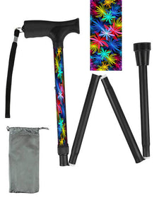 Folding walking cane fun cool travel men or women compact lightweight quality fashionable made in usa colorful bright Floral Passion bfunkymobility