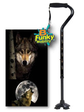 Load image into Gallery viewer, Walking Cane Gel Grip Offset Footed Quad wolf Walking Cane BFunkyMobility