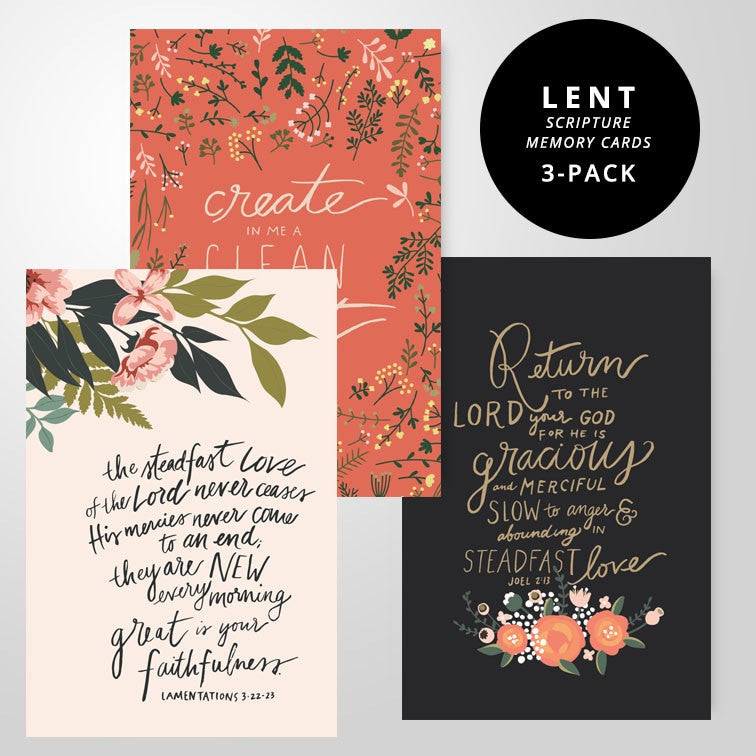 3 Scripture Memory Cards | Lent Pack