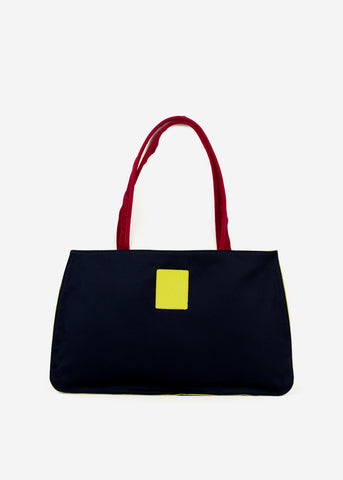 Hayward x ARossGirl Gloria Bag in Navy Satin with Magenta Handles