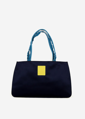 Hayward x ARossGirl Gloria Bag in Navy with Satin Wedgewood Handles