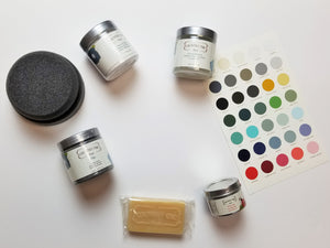 Getting Started Kit from Country Chic Paint - eco-friendly, VOC free, clay-based All-in-One Decor Paint, Furniture Glaze, Texture Powder, Crackle Medium, Beeswax Distressing Bar, and White Wax for furniture restorations and home decor DIY projects