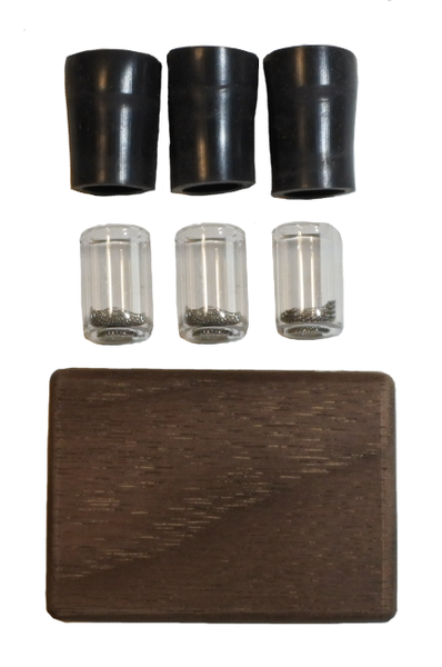 3 Capsules With Walnut Holder