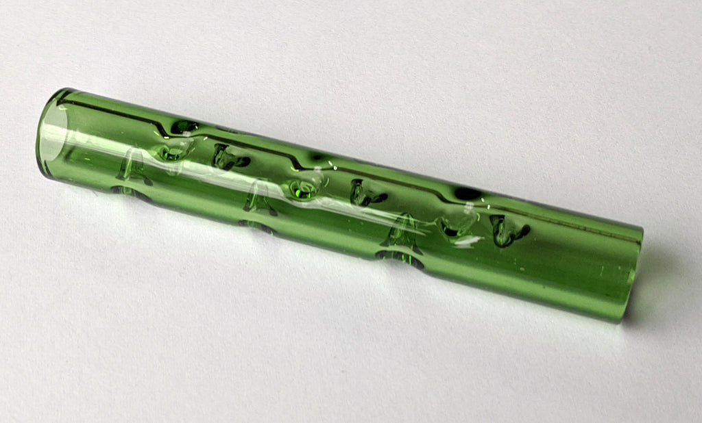Dimpled Glass Cooling Tube (Tree Green)