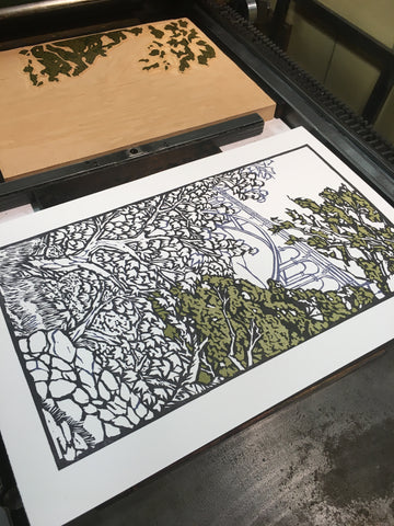 Multiple Color Woodblock Printing by Hand