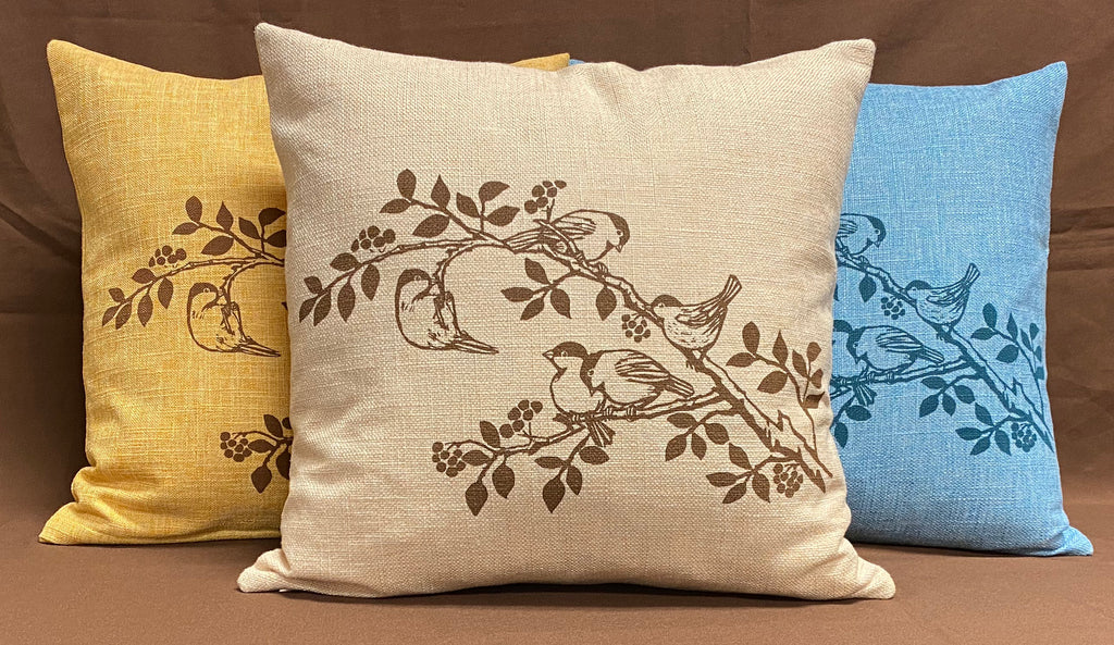 Chickadee Cushion Cover - Beige