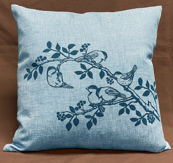 Chickadee Cushion Cover - Blue