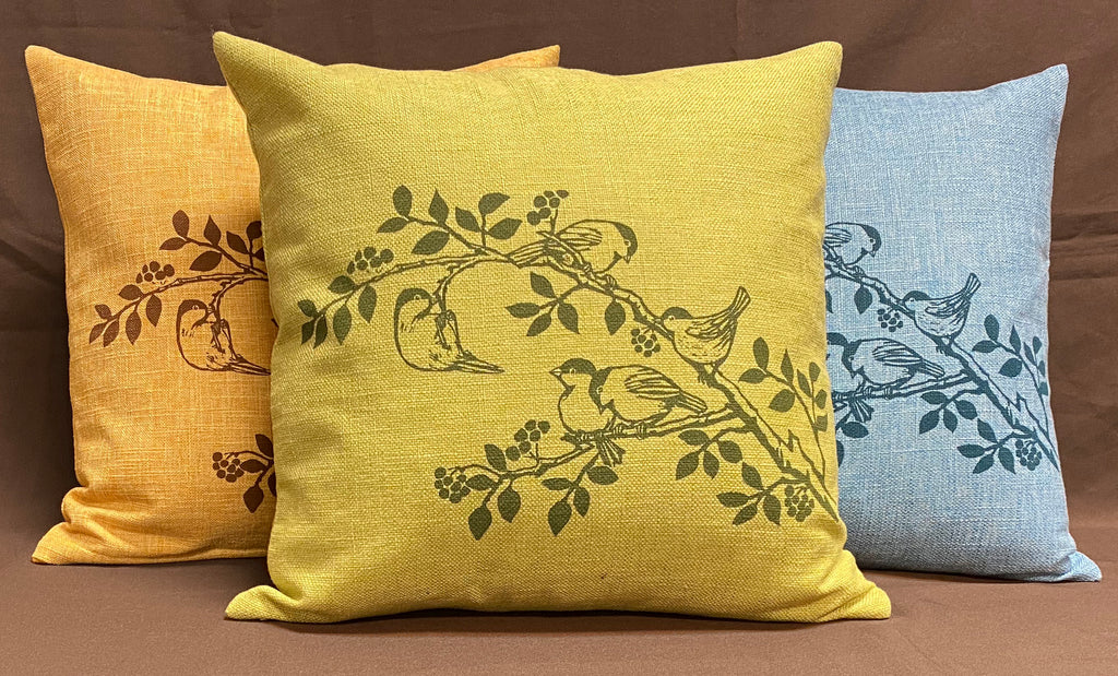 Chickadee Cushion Cover - Green