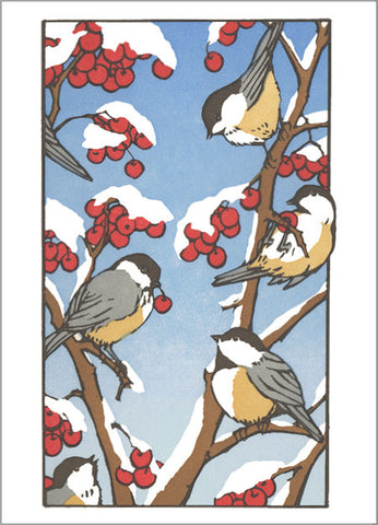 chickadees feast - Letterpress Holiday Cards