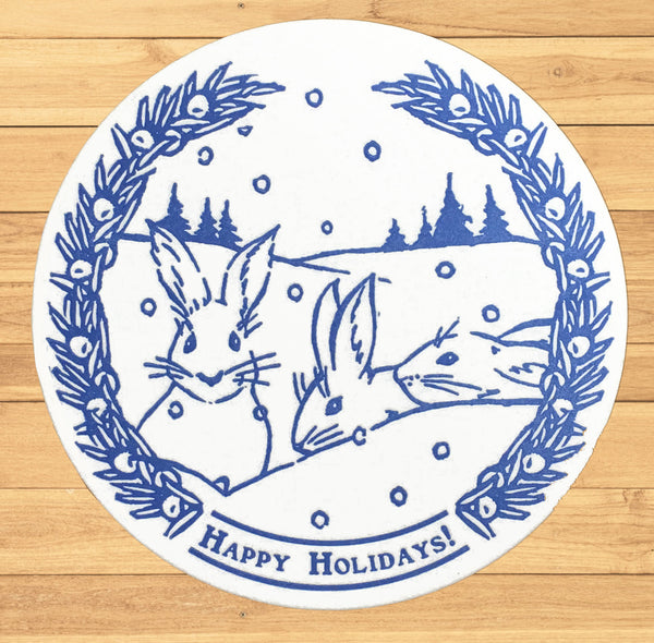 Snowshoe Hare Holiday Coaster