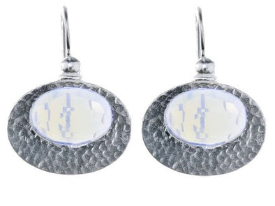 Oval Sterling Silver Earrings-Opalite