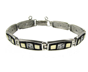 Sterling silver bracelet with gold squares and cubic zirconia
