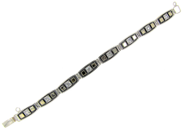 Black and Gold Sterling Silver Bracelet with Cubic Zirconia