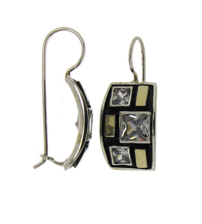 Black and Gold Sterling Silver Earrings with Cubic Zirconia