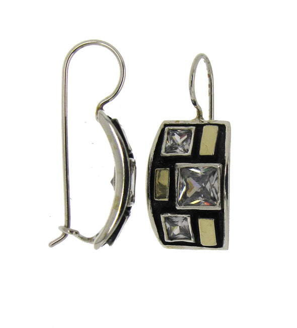 Black and Gold Sterling Silver Earrings
