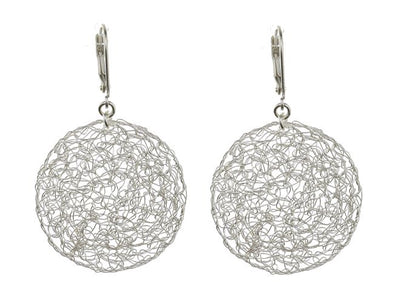 Small Pure Silver Mesh Earrings