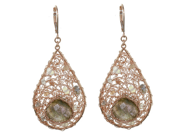 Pure Silver Mesh Earrings with Labradorite-Large