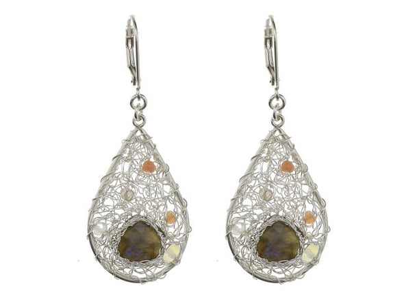 Pure Silver Mesh Earrings with Labradorite Stone-Small