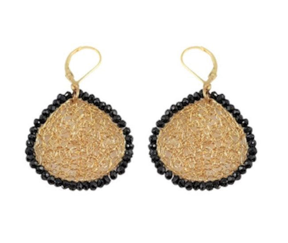 Gold Filled Mesh Earrings with Black Onyx