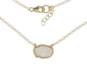 Over The Moonstone Gold Filled Mesh Necklace