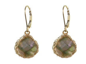 Shimmery Gold Mesh Earrings with Labradorite