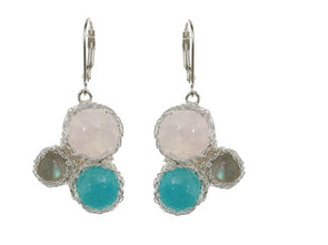 Silver Mesh Earrings with Multi Color Stones