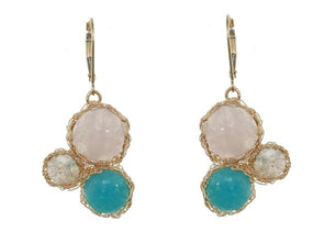 Gold filled lever back mesh earrings with rose quarts, turquoise and labradorite stoness