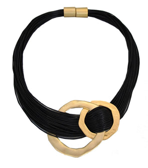 Black and Gold Intertwined Necklace
