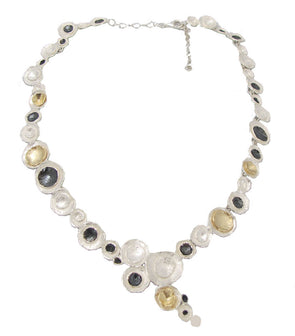 Three Tone Sterling Silver Statement Necklace