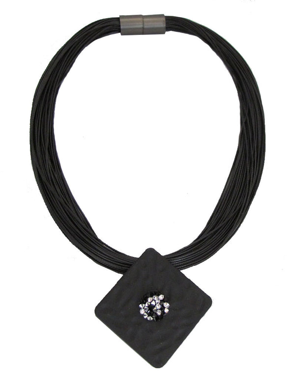 Black and Beautiful Multi Strand Necklace with Magnetic Clasp