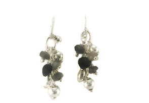 Casade Of Onyx and Tourmaline Sterling Silver Earrings