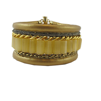 On the Right Track Cuff - Gold