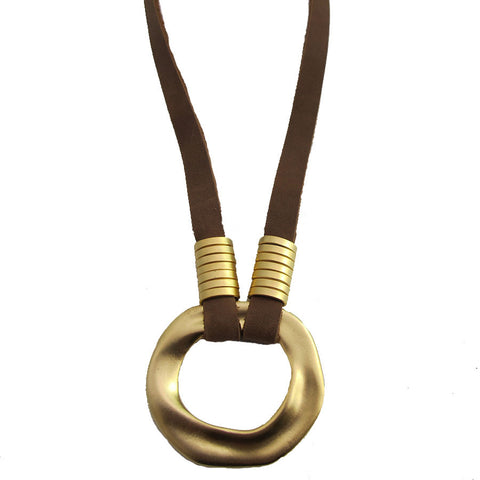 Circle Up Necklace - Brown