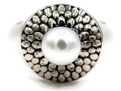 Pearl On Top Sterling Silver Ring