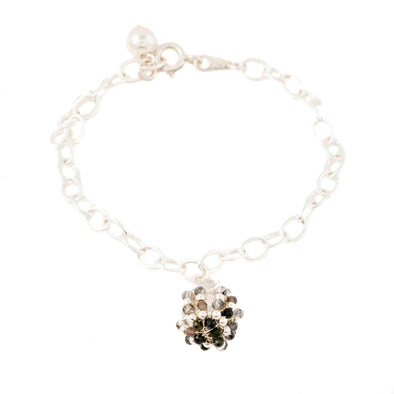 Sterling Silver Link Bracelet with Hanging  Globe Charm